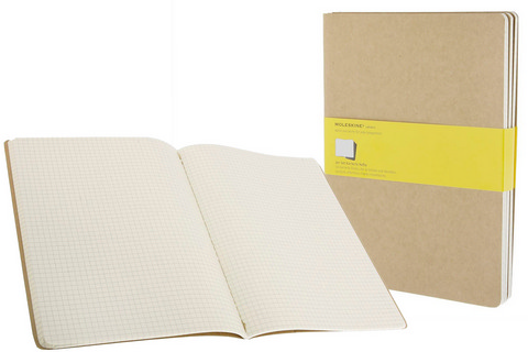 Moleskine Squared Cahier Kraft Brown X-Large 7.5 X 10 3 Pack