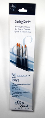 Sterling Studio Round/Bright Brush Set 4Pcs