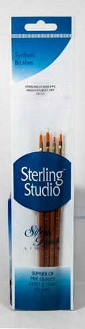 Sterling Studio Bright/Filbert Brush Set 4Pcs