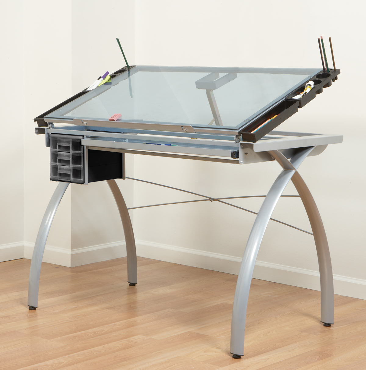 Studio RTA Design Futura Glass Top Drafting Table