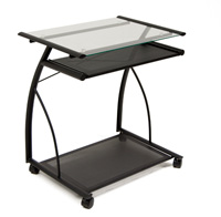 Calico Laptop Cart Black Clear Glass