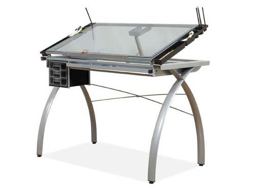 Futura Studio Design Rta Glass Top Drawing Table