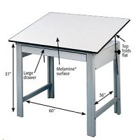 Alvin Drafting Table Designmaster Gray 37.5X72 Top And No Drawers