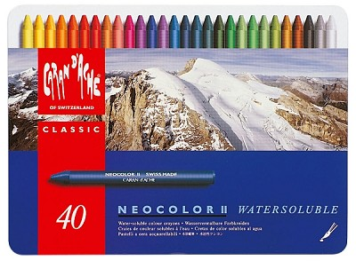 Neocolor II Water-Soluble Quality Artists' Crayons 40 Set