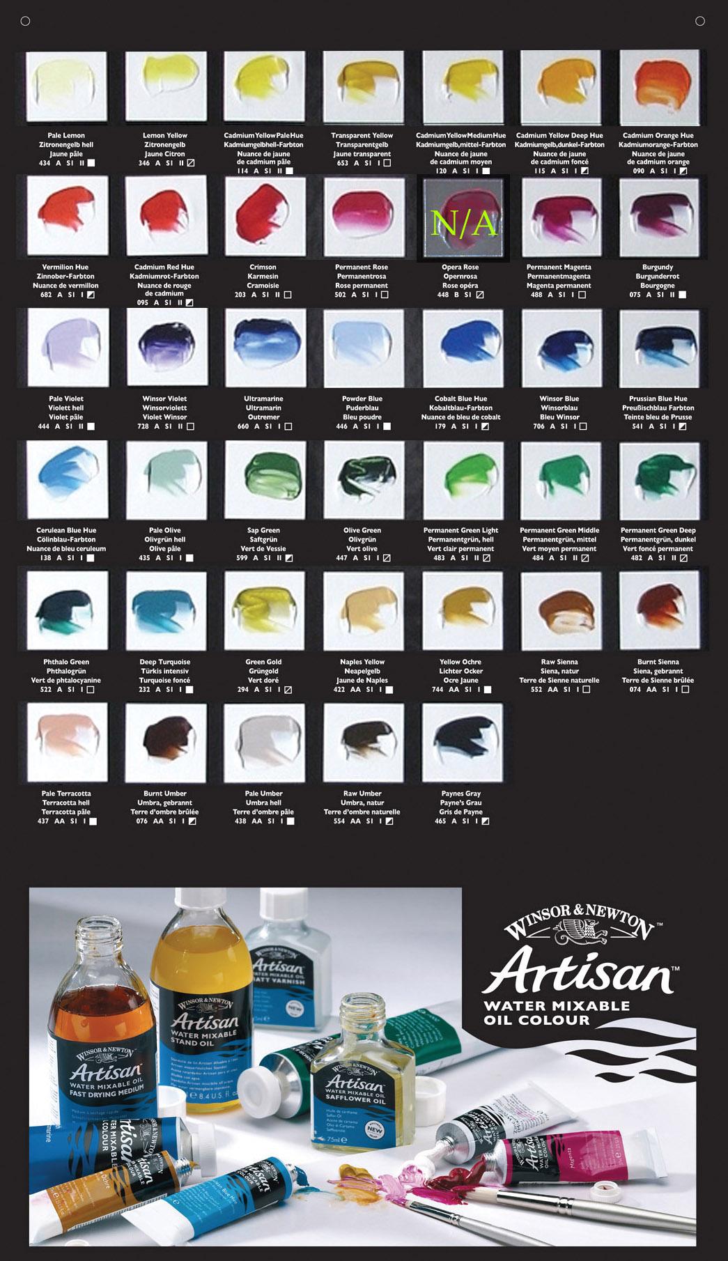 Artisan Oil Paints Color Chart