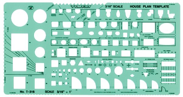 Timely 3/16 inch Scale House Plan Template