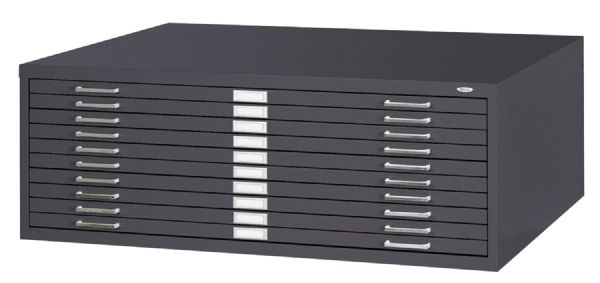 10-Drawer Black Steel Flat File by Safco