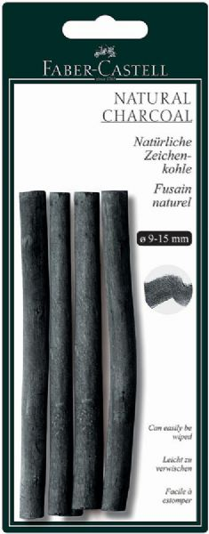 Faber-Castell Natural Willow Charcoal Stick 4-Pack