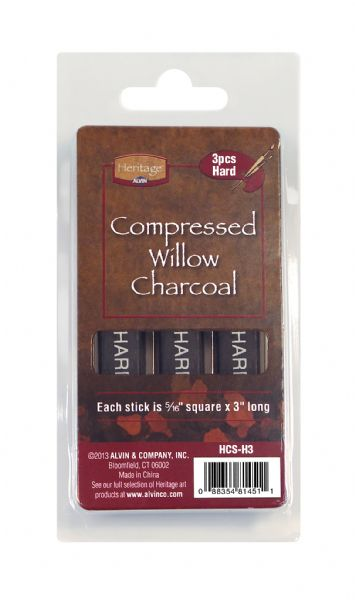 Heritage Arts Compressed Charcoal Sticks 3-Piece Clamshell (Hard)