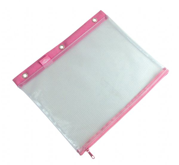 "3-Ring Binder Mesh Bag 8"" x 11"" Pink Trim by Alvin"