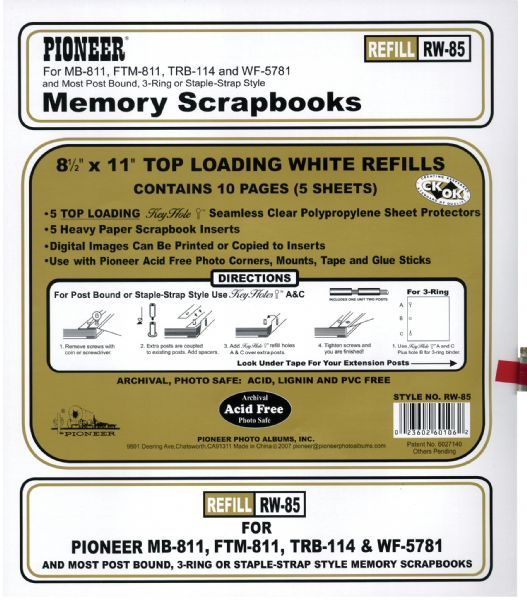 "8.5"" x 11"" Universal Top Loading Memory Sheet Protector Refill by Pioneer"