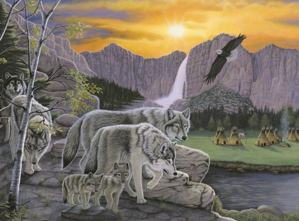 Royal & Langnickel Painting by Numbers 11 1/4 x 15 3/8 Junior Large Set Path Of The Wolf Spirit