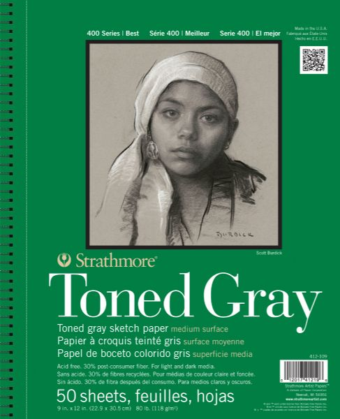 "9"" x 12"" Toned Gray Wire Bound Sketch Pad"