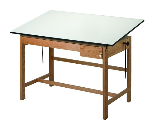 Alvin Drafting Table Titan 2 Wood Table 37.5 By 72 W Drawers