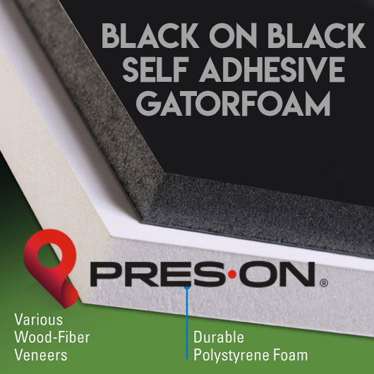 11 x 14 x 3/16th Pres-On Black Self Adhesive Gator Board 25 sheets
