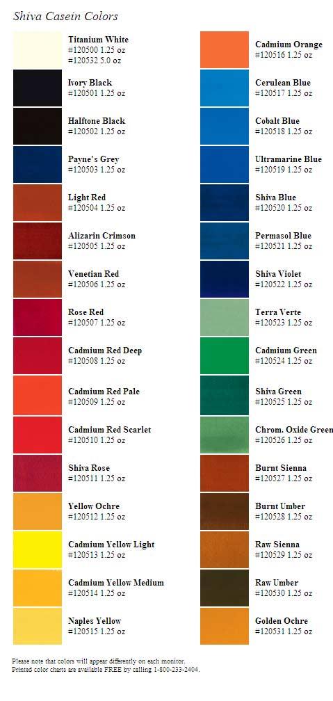 Casein Color Chart