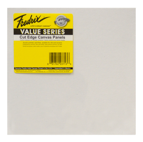 Fredrix Value Series Cut Edge Canvas Panel Square 12 Inch 6 Pack