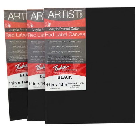 Pack Of 6 Fredrix Artist Series Red Label Stretch  Black Canvas 11X14
