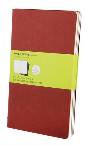 Moleskine Plain Cahier Cranberry Red Large 5 X 8.25 3 Pack