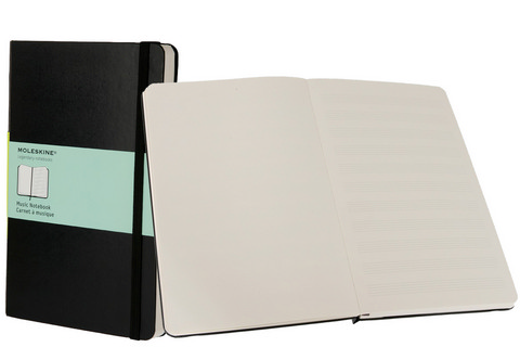 Moleskine Hard Cover Music Notebook Large 5 X 8.25