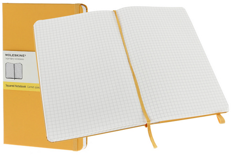 Moleskine Squared Hard Cover Notebook 3.5 X 5.5 Orange Yellow