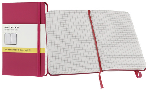 Moleskine Squared Hard Cover Notebook 3.5 X 5.5 Magenta
