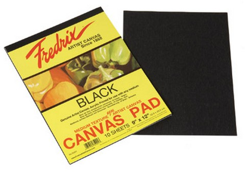 Fredrix Black Real Canvas Pad 10 Sheets 12X16