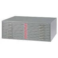 10-Drawer Gray Steel Flat File by Safco