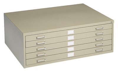 5-Drawer Sand Steel Flat File by Safco