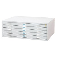 5-Drawer White Steel Flat File by Safco