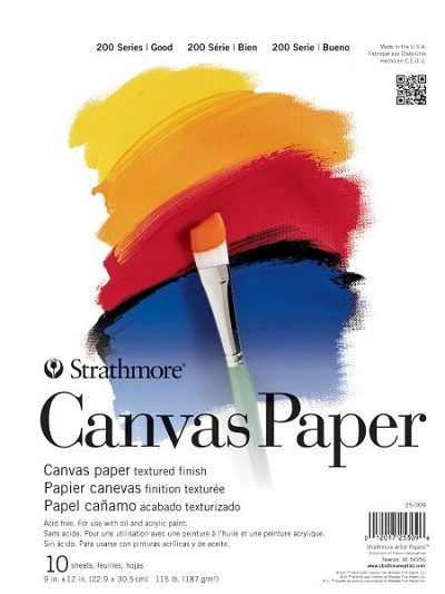 "9"" x 12"" Strathmore Tape Bound Canvas Paper Pad"