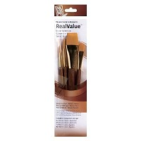 Princeton RealValue Watercolor Acrylic and Tempera Brush Golden Taklon Set