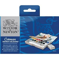 Winsor & Newton Cotman Watercolor Deluxe Sketchers Pocket 16-Half Pan Box Set