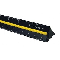 Alvin 98 Series 12 inch Black Aluminum Engineer Triangular Scale