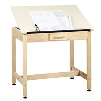 Shain 30 inch One-Piece Drawing Table with Small Drawer