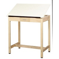 Shain 37 inch One-Piece Drawing Table with Small Drawer