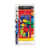 Faber-Castell Gel Sticks 12-Color Set with Brush