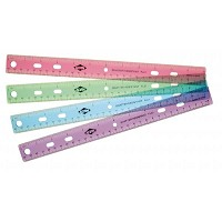 Alvin 12 inch Plastic 3-Ring Binder Ruler