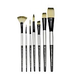 Dynasty Black Silver Blended Synthetic Watercolor Brush Long Liner 0