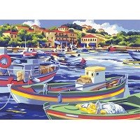 Royal & Langnickel Painting by Numbers 12 3/4 x 15 3/4 Adult Set Mediterranean Fishing Boat