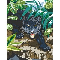 Royal & Langnickel Painting by Numbers 8 3/4 x 11 3/8 Junior Small Set Black Leopard