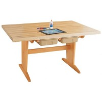 Shain 1-3/4 inch Maple Top Pedestal Table with Tote Trays