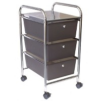 Rolling Cart 3 Smoke Drawers