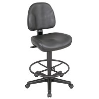 Premo Black Leather Drafting Chair