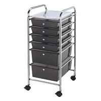 Blue Hills Studio 6 Drawer Smoke Colored Cart
