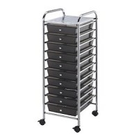 Blue Hills Studio 10 Drawer Smoke Colored Cart