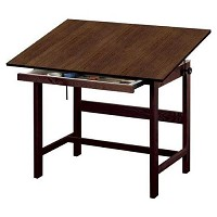Alvin Drafting Table Titan Drafting Table 36X48X37 Walnut Finish With Drawer