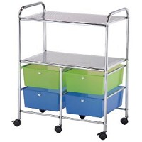 Blue Hills Studio 4 Drawer Storage Cart With Shelves