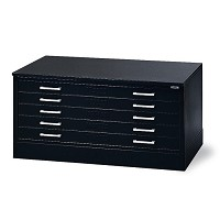 Mayline C Flat File 5 Drawer 37X25-3/4X2 Black