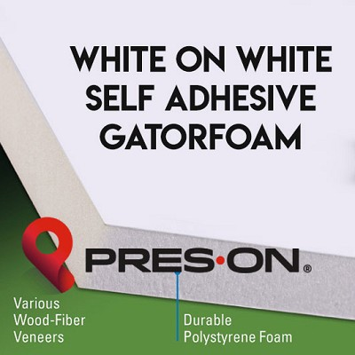11 x 14 x 1/2 Pres-On White Self Adhesive Gator Board 25 sheets